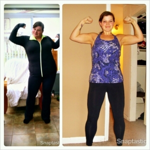 Two before and during photos, 35 lbs off on the left, 115 off on the right.